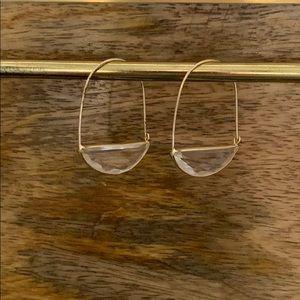 Anthropologie large stone crescent hoop earrings